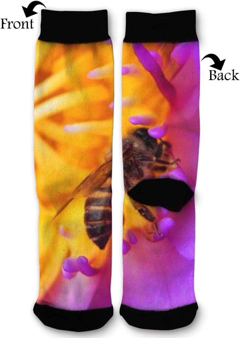 BLongTai Knee High Compression Socks Honey Bee Petaled Flower for Women and Men Sport Crew Tube Socks