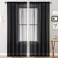 Sheer Curtains Living Room Rod Pocket Window Curtain Panels Bedroom Semi Sheer Voile Curtains Black (39''Wx51''L,2…
