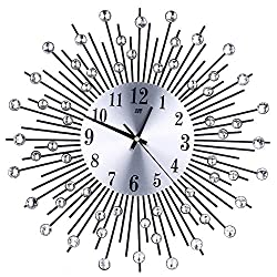 Kay Cowper 3D Wall Clock Diamonds Non-Ticking Silent Dazzling Clock for Home Office