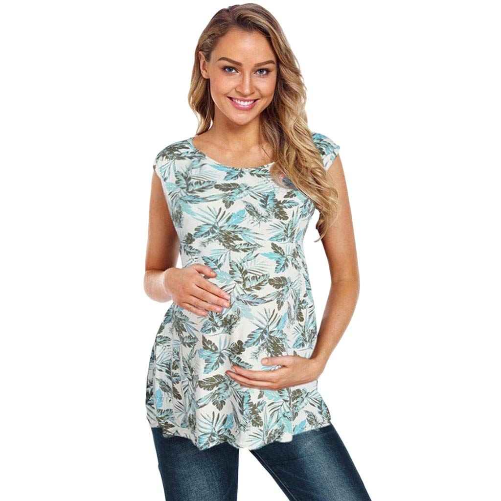 7626cfc0edf Amazon.com: Women's Maternity Nursing Tunic Tops - Leaves Print Sleeveless  Double Layer Shirts Comfy Tees (Green, M): Beauty