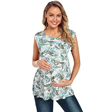 5341186d68c Women's Maternity Tops T-Shirt Sleeveless Leaves Print Tees Nursing Shirts  Blouse Breastfeeding Clothes S