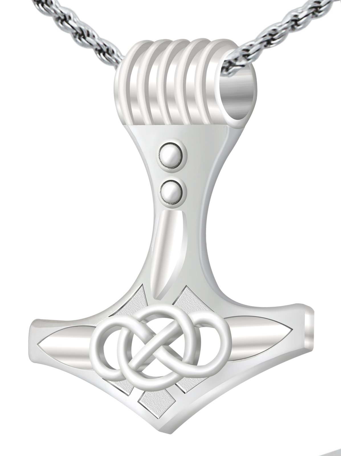 New 0.925 Sterling Silver Large Thor's Hammer Pendant Viking 3.0mm Curb Necklace, 24''
