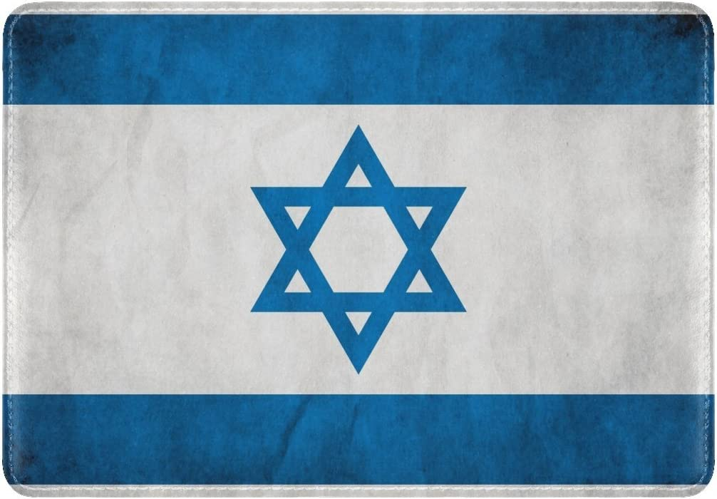Flag Israel Star Of David Symbol Texture Leather Passport Holder Cover Case Travel One Pocket