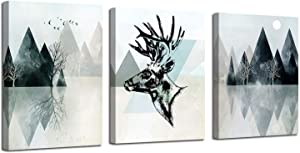"Ardemy Canvas Wall Art Abstract Geometry Landscape Mountain Painting Modern Black and White Deer Triangle Hills 12""x16""x3 Panels Pictures Framed for Living Room Bedroom Bathroom Home Office Decor"