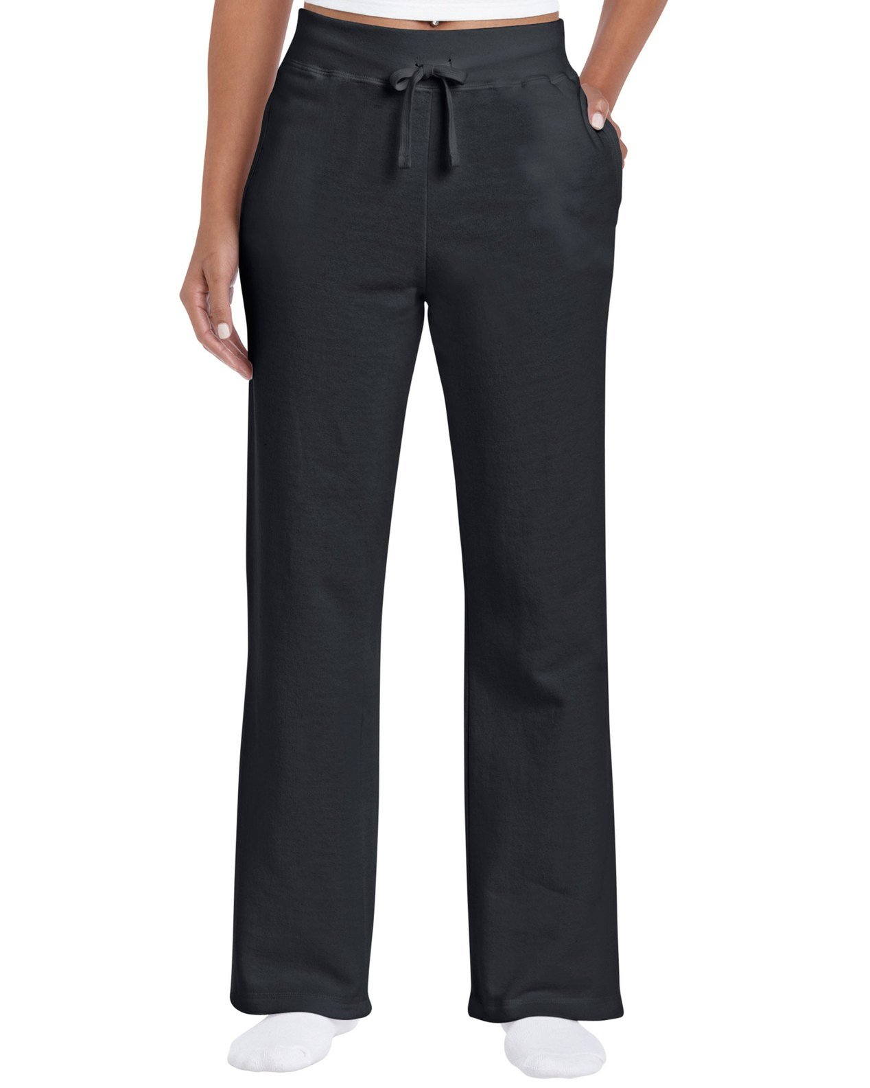 Gildan Women's Open Bottom Sweatpants, Black, Medium