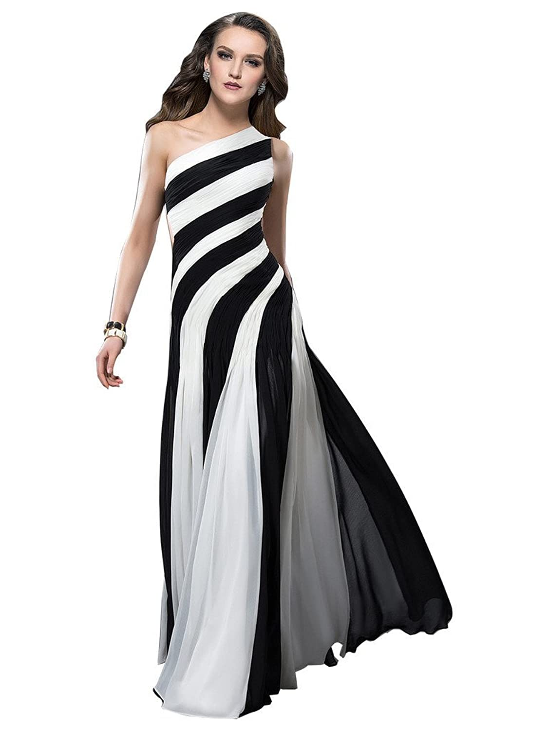 CLOCOLRO Women's Designer Long Tulle One Shoulder Black and White Evening Dresses Bridesmaids Gowns for Girls