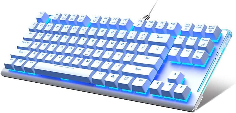 Color : White LIULU Mechanical Keyboard 87 Keys Dedicated Black Axis Green Axis Tea Axis Red Axis Tablet Desktop Game Keyboard