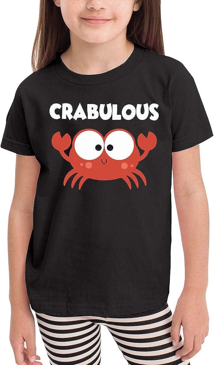 CERTONGCXTS Baby Girls Kids Crabulous Little Crab Cute Short Sleeve Tee Shirt Size 2-6
