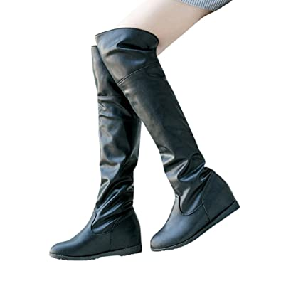 Women's Winter Round Head Black Artificial Leather Fold Ruched Flat Over The Knee Snow Boots