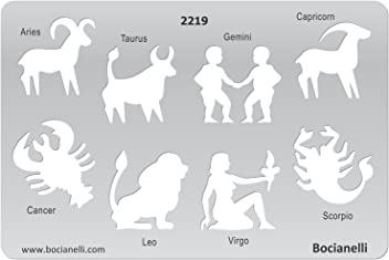 Bocianelli Plastic Stencil Template for Graphical Design Drawing Drafting Jewellery Making - Zodiac Signs Sign Aries Taurus Gemini Capricorn Cancer Leo Virgo Scorpio.