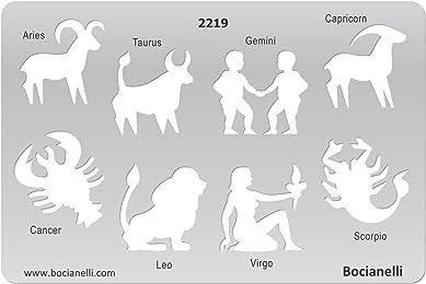 Plastic Stencil Template for Graphical Design Drawing Drafting Jewellery Making - Zodiac Signs Sign Aries Taurus Gemini Capricorn Cancer Leo Virgo Scorpio.