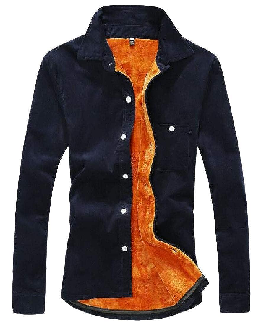desolateness Mens Button Down Sherpa Lined Corduroy Work Shirt Jacket