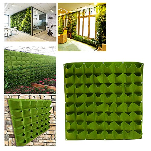 vinmax Planting Containers Zones Small Planting Pots Urns with 64 Pockets Tray Planter Nursery Hangers Indoor Outdoor Vertical Garden Greening Flower Grow Bags (Green) by vinmax