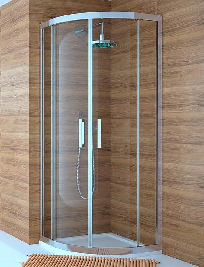 Mampara de Ducha Semicircular- 2 Hoja Fija y 2 Puerta Corredera - Cristal de Seguridad de 6 mm - Modelo Trescientos Circle (90 x 90 Curva Roca): Amazon.es: Bricolaje y herramientas