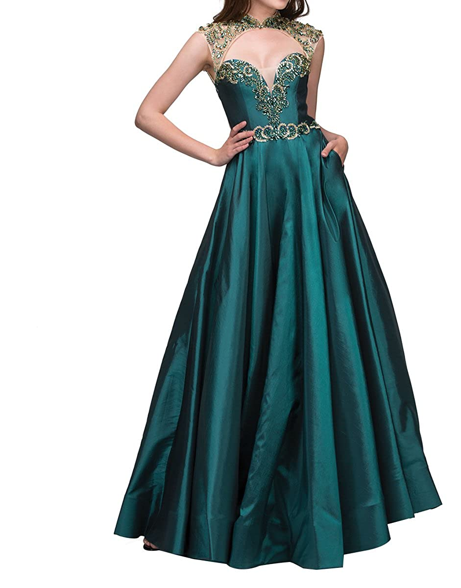 Dark Green Homdor Beaded High Neck Prom Dresses Long Sweetheart ALine Backless Evening Formal Gown