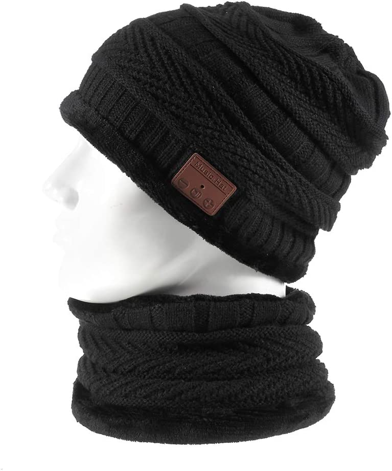 Bluetooth Beanie Winter Music Hat, Wireless Earphone Beanie Headphones with HD Stereo Speakers Built-in Microphone, Extra Free Neck Warmer for Men Women Black