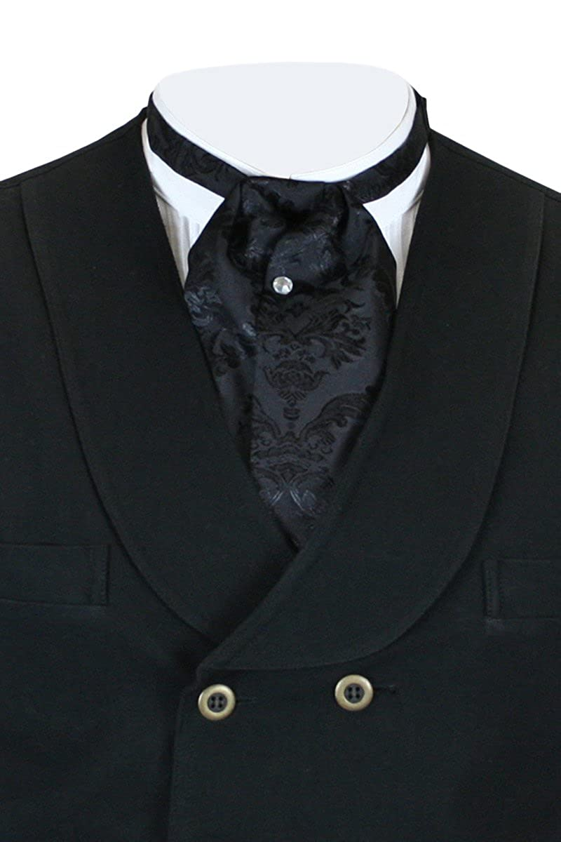 Victorian Men's Clothing, Fashion – 1840 to 1890s Historical Emporium Mens Satin Floral Puff Tie $25.95 AT vintagedancer.com