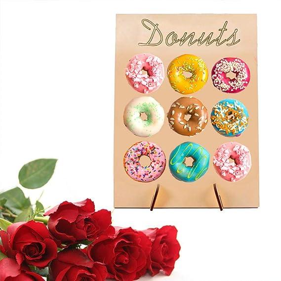 LAOZI Donut de Soporte de Pared Donut de Madera Muestra Stand Donut Display Frame Donut Soporte Decorativo Donut Wall Wedding Favors