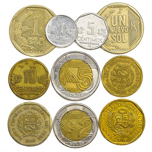 10 Peru Coins from South America Old Collectible Peruvian Coins LOT CENTIMOS Soles. Perfect Choice for Your Coin Bank, Coin Holders and Coin Album