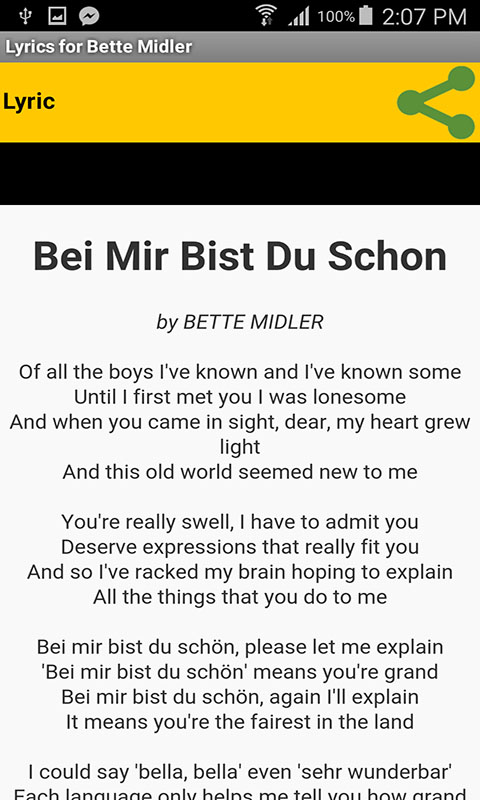 Amazoncom Lyrics For Bette Midler Appstore For Android