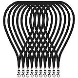 "Fushing 100pcs 17.72"" Neck Strap Lanyard With Swivel Clasp For ID Cards, Badges, Keys, Employees, Students, Visitors, etc (Black)"