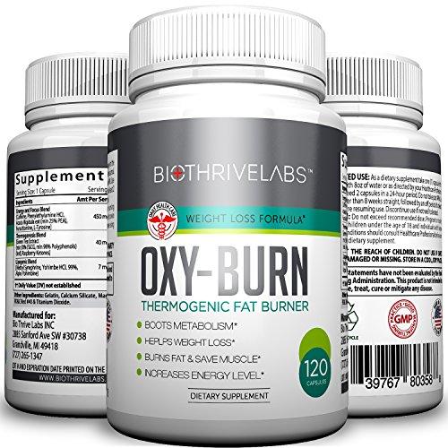 OXY-combustion thermogénique supplément Pills - 120 Capsules de brûleur de graisse extrême - meilleur métabolisme Booster pour perdre du poids rapidement. Donne de multiples bienfaits pour la santé : Devenir plus mince, plus fort et vivre plus longtemps !