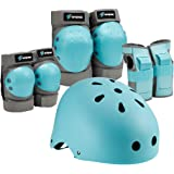 Spofine Kids & Adult Helmet, Knee and Elbow Pads with Wrist Guards, Protective Gear Set (7 Pieces ) for Youth, Boys and Girls