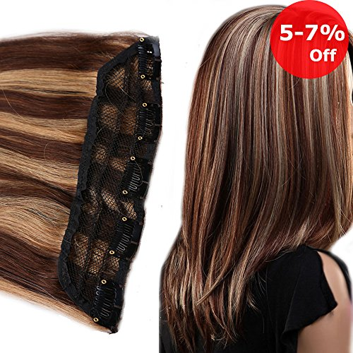 20 inch Clip in Remy Human Hair Extensions One piece Medium Brown mixed Dark Blonde for Women Beauty 8pcs/50g Soft Long Straight (20'' #4-27)