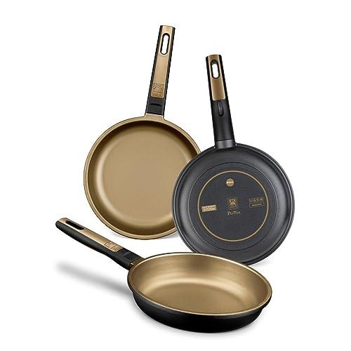 BRA Terra Set de 3 sartenes aluminio fundido aptas para todo tipo de cocinas incluido inducción y vitrocerámica aptas para lavavajillas 18 22 26 cm