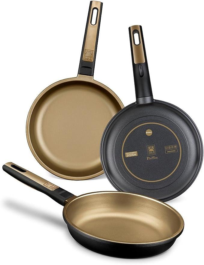 BRA Terra - Set de 3 sartenes, aluminio fundido, aptas para todo tipo de cocinas, incluido inducción y vitrocerámica, aptas para lavavajillas, 18-22-26 cm: Amazon.es: Hogar