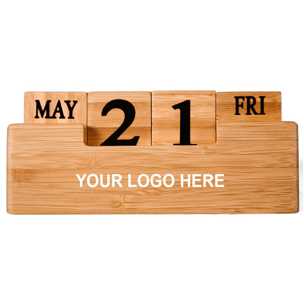 Bamboo Perpetual Calendar - 100 Quantity - $13.33 Each - Promotional Product/Bulk / with Your Customized Branding