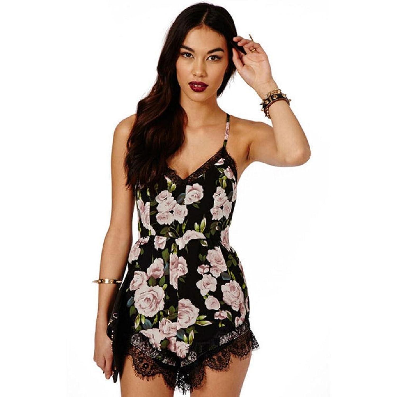 Ouneed® Damen Kleider , Sommer Blumenspitze Chiffon Bodycon Jumpsuit ...