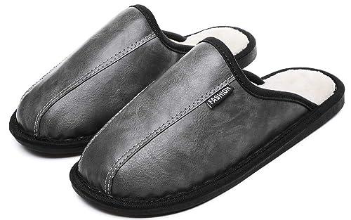 Yooeen Zapatillas de Casa Hombre Zapatillas de Estar por Casa Impermeables de PU para Mujer Pantuflas Térmicos de Invierno Cómodas Zapatos de Interior: ...