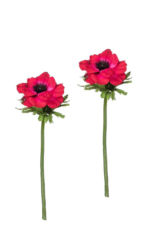 Sullivans 人工レッドアネモネの花の茎 13.5インチ 2本セット B07NQXXN1P