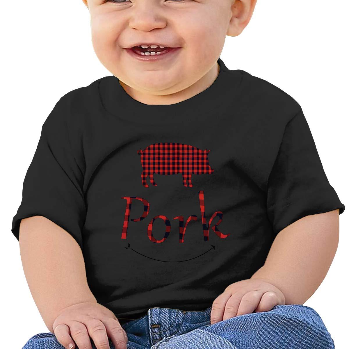 Buffalo Plaid Pig Pork Toddler Short-Sleeve Tee for Boy Girl Infant Kids T-Shirt On Newborn 6-18 Months