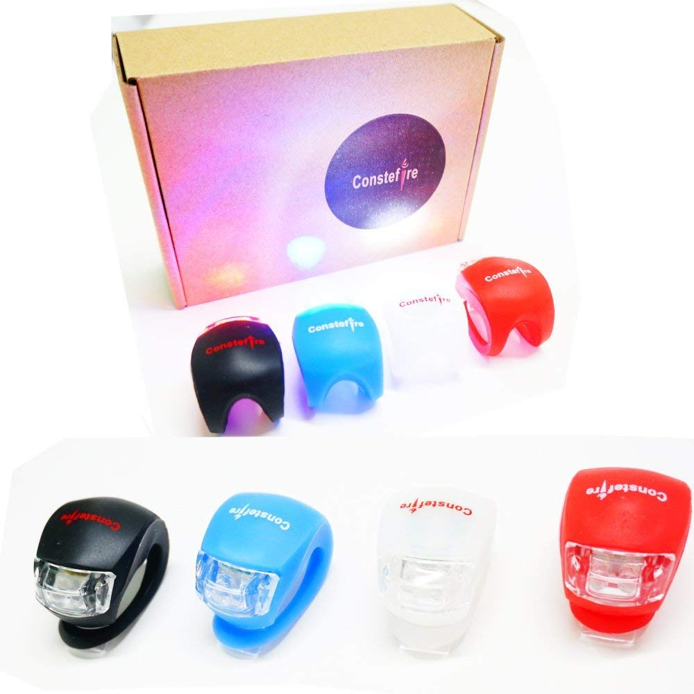 FLASH & CONSTANT New SILICONE BICYCLE BIKE LED LIGHTS FRONT & REAR TWIN PACK
