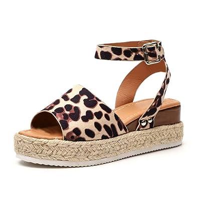 cbc54dd0898409 Sandale Femme Compensées Espadrilles Ete Cuir Plateforme Bout Ouvert 5 CM  Talon Chaussure Plates Plage Confort