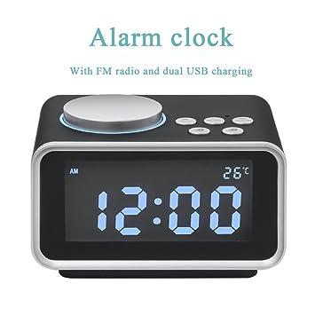 LED Digitaler Wecker FM Radiowecker Dual Alarm Mit  Uhrzeit/Temperaturanzeige/ 2 USB
