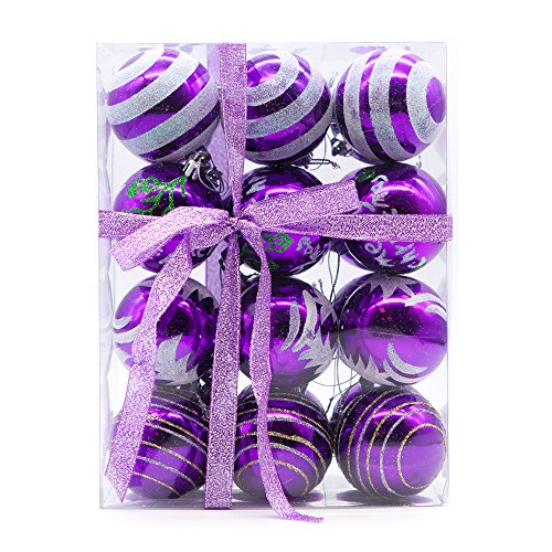 "Colorful Christmas Trees - Yoland Shatterproof Christmas Balls Colored Painting ChristmasTrees Pendant Ornaments in Gift Boxes with Ribbon for Garden, Party, Indoor and Outdoor Décor Pack of 24ct (60mm / 2.36"", Purple)"