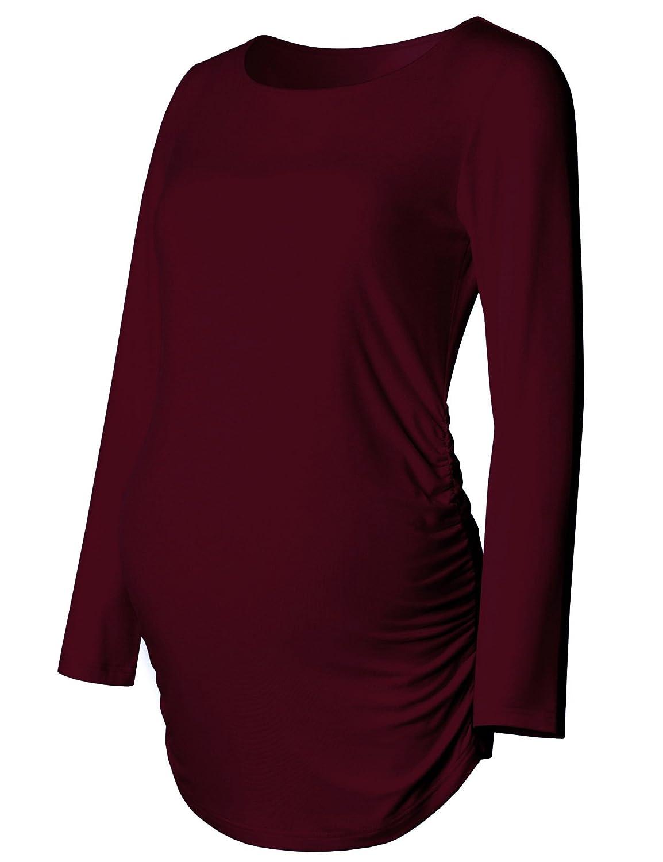 Burgundy Maternity Shirt Long Sleeve Basic Top Ruch Sides Bodycon Tshirt for Pregnant Women