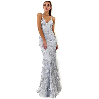 66bc6e289aad Women Sexy V-neck Formal Dress Gown Backless Sequins Off Shoulder Tulle  Maxi Dresses Prom Party Wedding Bridesmaid Gray Color  Amazon.co.uk   Clothing