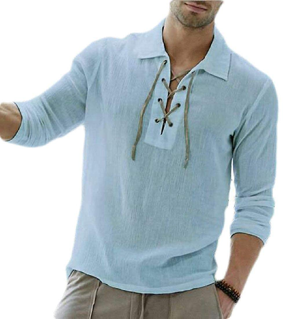 Rrive Men Loose Lace Up Casual Long Sleeve T Shirts Tee