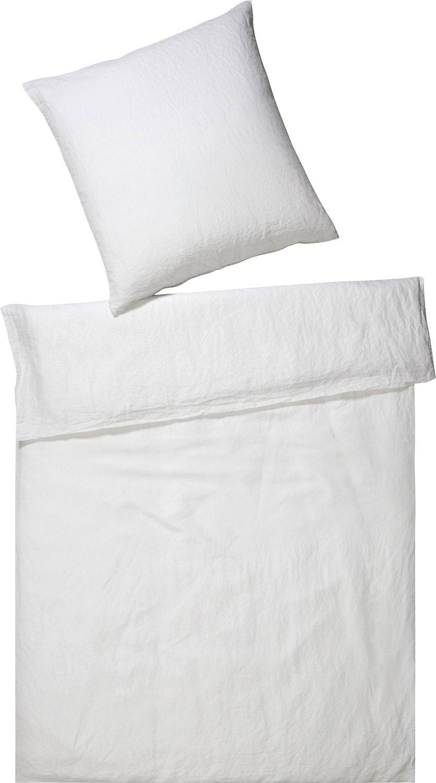 Elegante Bettwäsche Breeze Halbleinen buntgewebt weiß Größe 155x220 cm (80x80 cm)