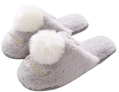 49adff79778 FreLO Women s Grey Plush Pom-pom Cute Slippers Warm Slippers ...