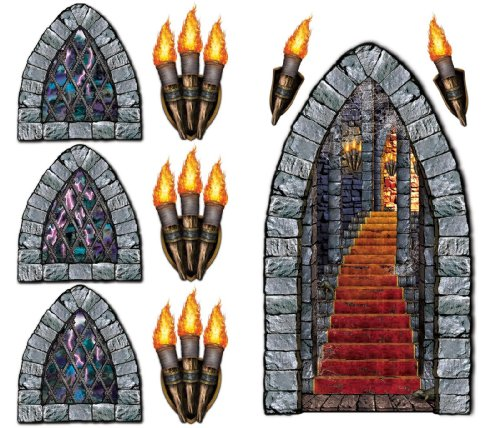 Stairway, Window & Torch Props Party Accessory (1 count) (9/Pkg) (Renaissance Party Supplies)