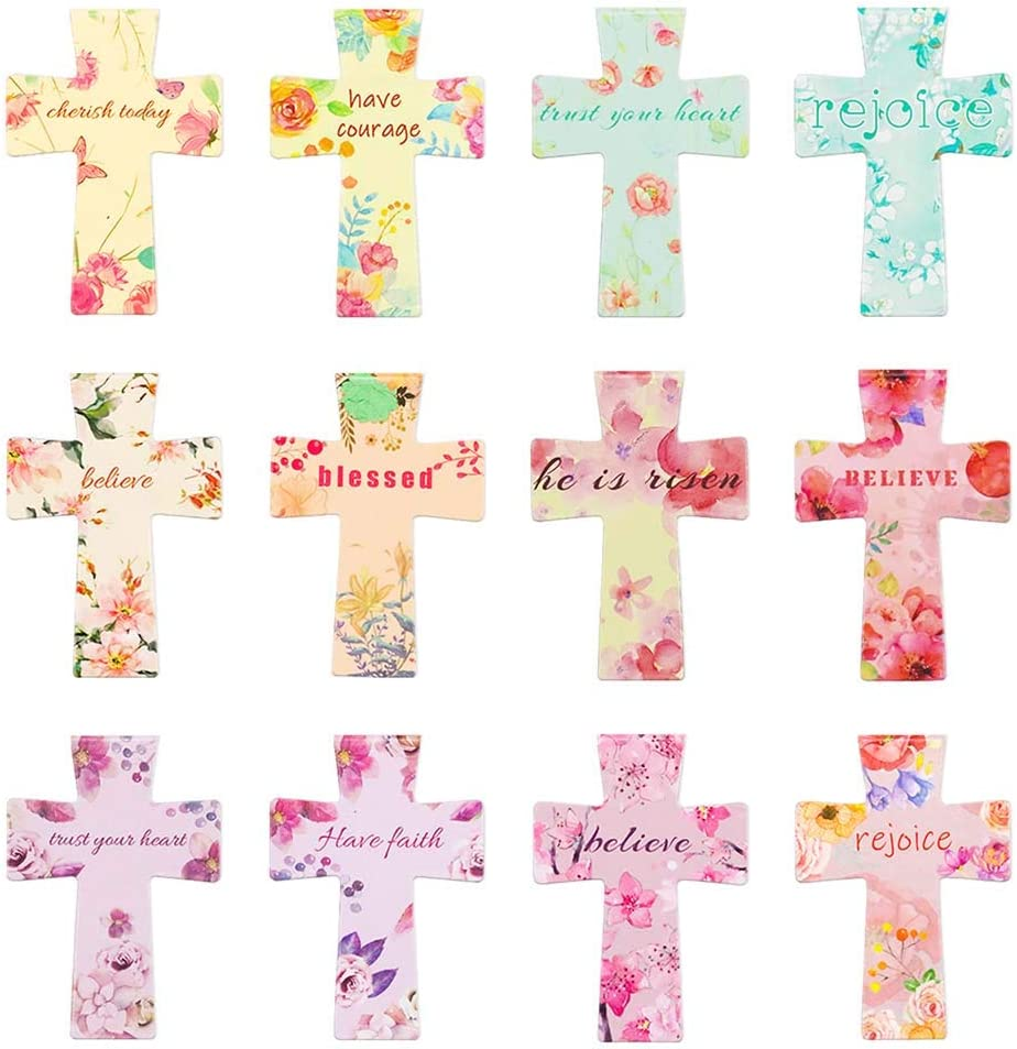 36 Pcs Christian Cross Magnetic Bookmarks Bible Verses Flower Bookmarks Colorful Cross Magnetic Bookmarks 12 Designs