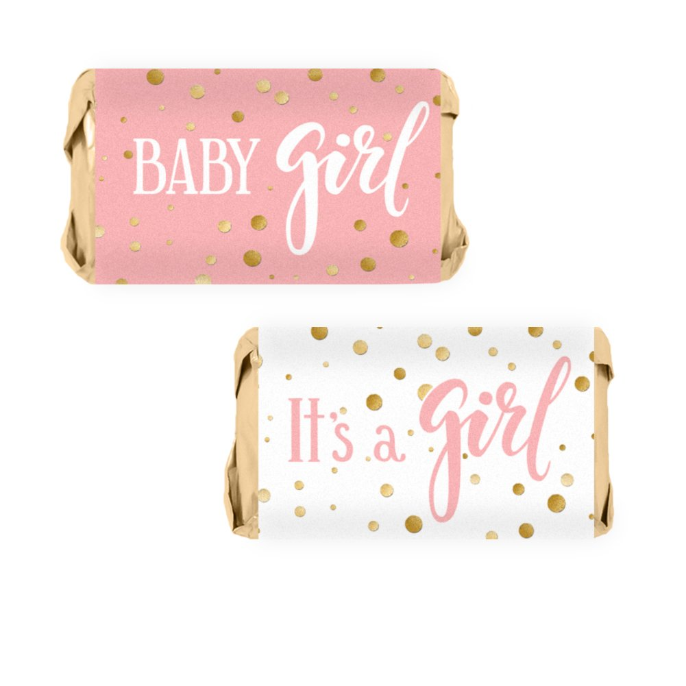 Pink and Gold It's a Girl Baby Shower Favor Miniatures Candy Bar Wrapper Stickers (54 Count)