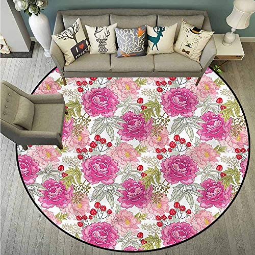 (Skid-Resistant Rugs,Floral,Flower Garden Peony and Rose,Anti-Slip Doormat Footpad Machine Washable,5'3