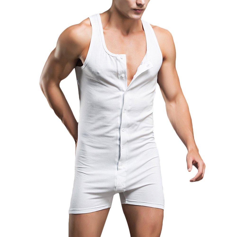 1940s Men's Underwear: Briefs, Boxers, Unions, & Socks Verypoppa Mens Shorts Romper Sleeveless Button Front Gym Workout Nightwear Undershirt Jumpsuit (US S (Asian Tag L) White.) $15.99 AT vintagedancer.com