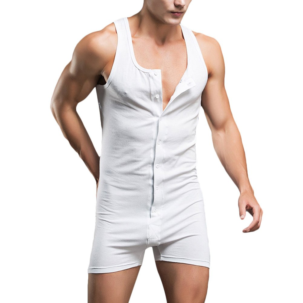 0914ab9a2f Verypoppa Men s Shorts Romper Sleeveless Button Front Gym Workout Nightwear  Undershirt Jumpsuit product image